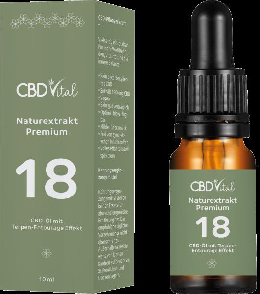 CBD Naturextrakt PREMIUM Öl 18% 10ml