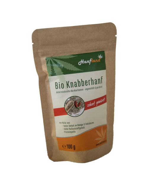 Knabberhanf Bio geröstet mit süßem Scharfmacher, 100 g
